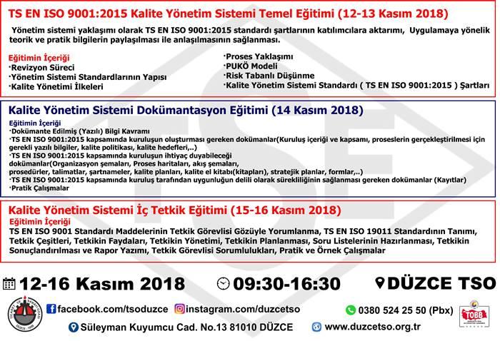 Kalite Yönetim Sistemi İç Tetkik Eğitim